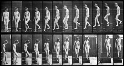Eadweard Muybridge - Žena scházející ze schodů, studie