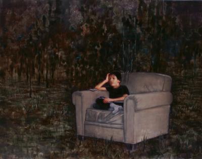 Leo is sitting in an armchair o,c. 190x240cm, 2011
